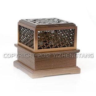 黑胡桃木 双层熏香盒香盘一体式